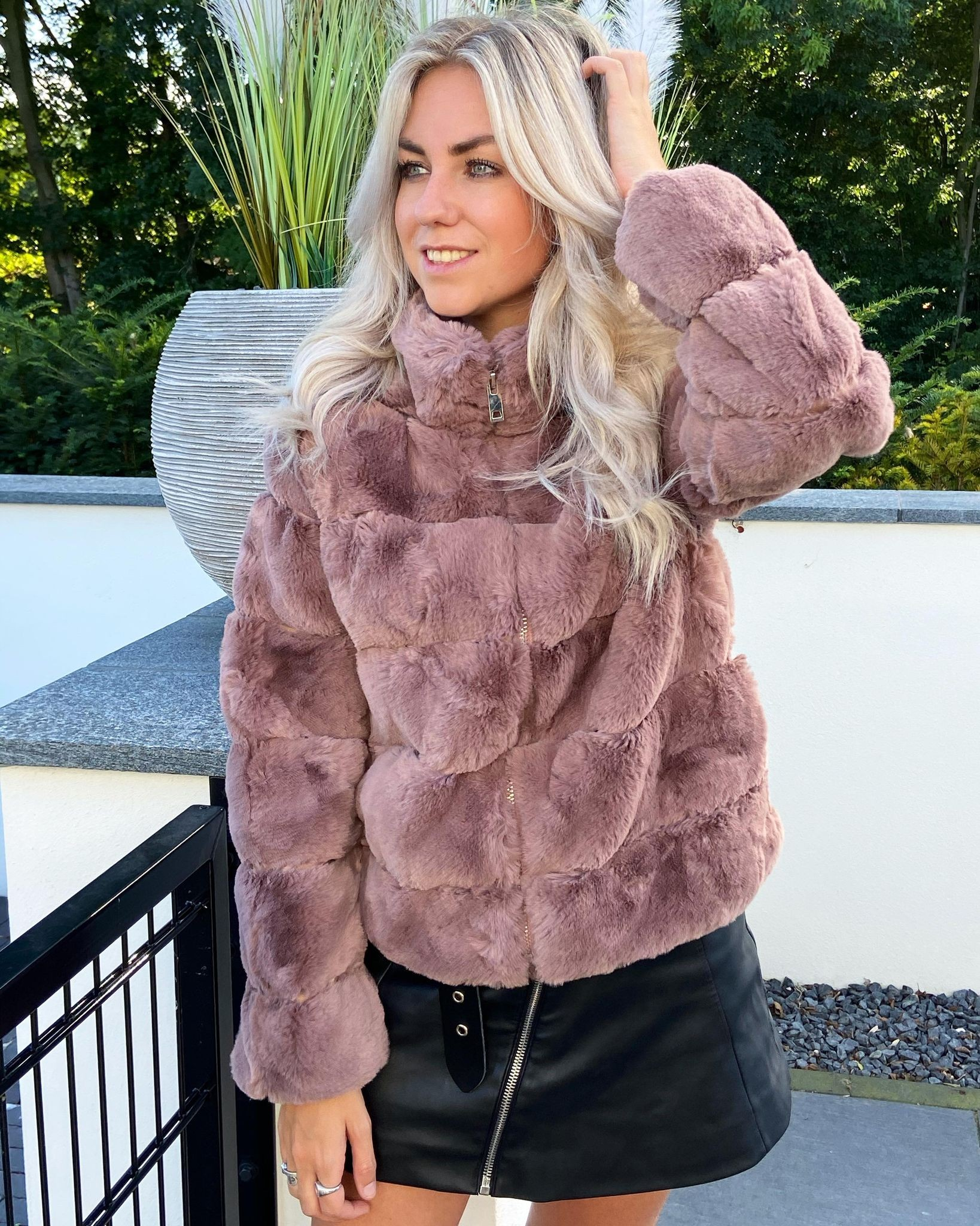 Sylvie faux fur jacket old pink