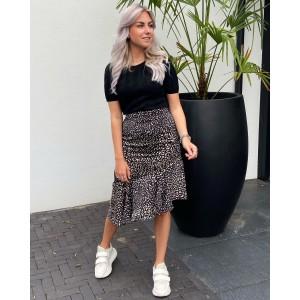 Veerla ruffle leopard skirt black/creme