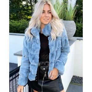 Sylvie faux fur jacket blue