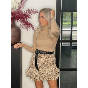 Feline leopard skirt creme