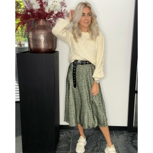 Renate satin skirt green