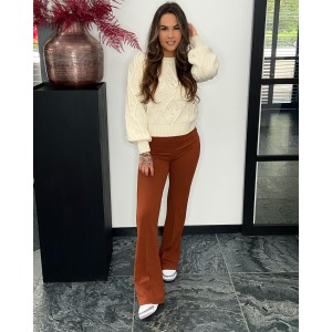 Floor pantalon flared camel
