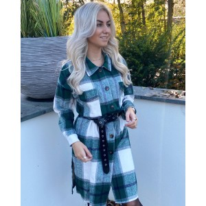 Tyla checkered blouse long green