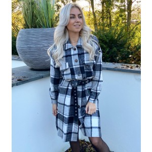 Tyla checkered blouse long black/white