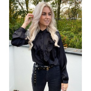 Patries satin blouse black
