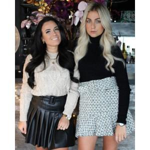 Nora leather plissé skirt black