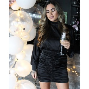 Soof satin dress black