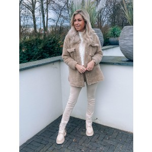 Holly teddy jacket taupe