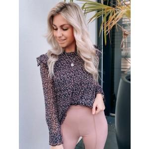 Kiko flower blouse black/pink