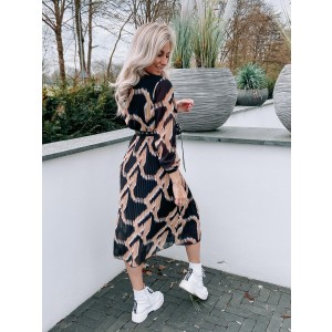 Luca plissé dress camel/black