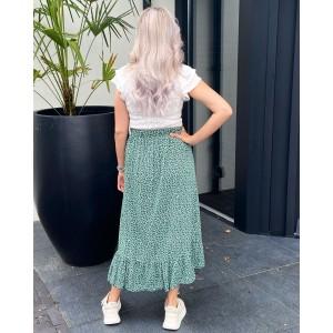Puck ruffle skirt leopard green