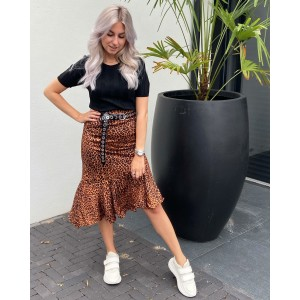 Veerla ruffle leopard skirt brown