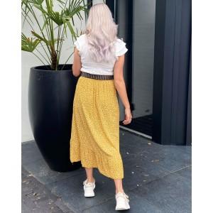 Puck ruffle skirt leopard yellow
