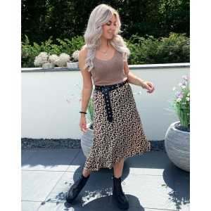 Riley glitter top taupe