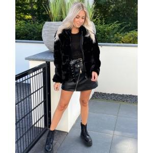 Sylvie faux fur jacket black