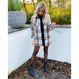 Shell checkered blouse brown