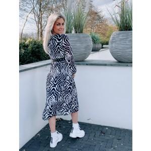 Luca plissé dress zebra coffee