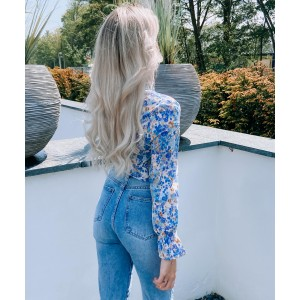 Tatum flower blouse blue