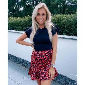 Milly leopard skirt red